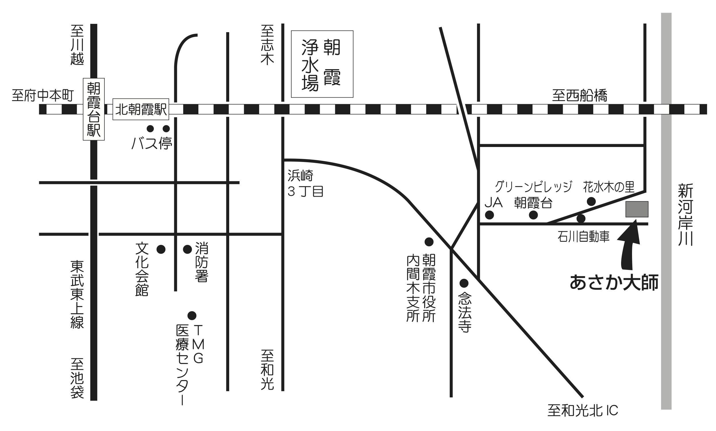 あさか大師 香林寺への地図